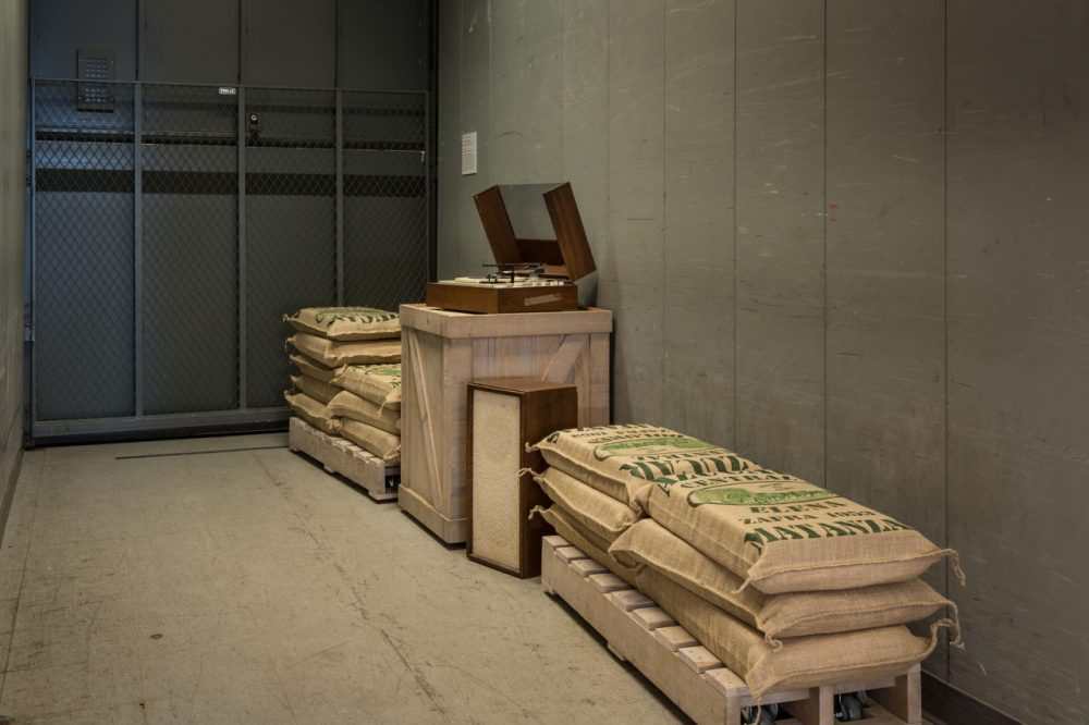 A freight elevator in the exhibit. (Andrea Shea/WBUR)