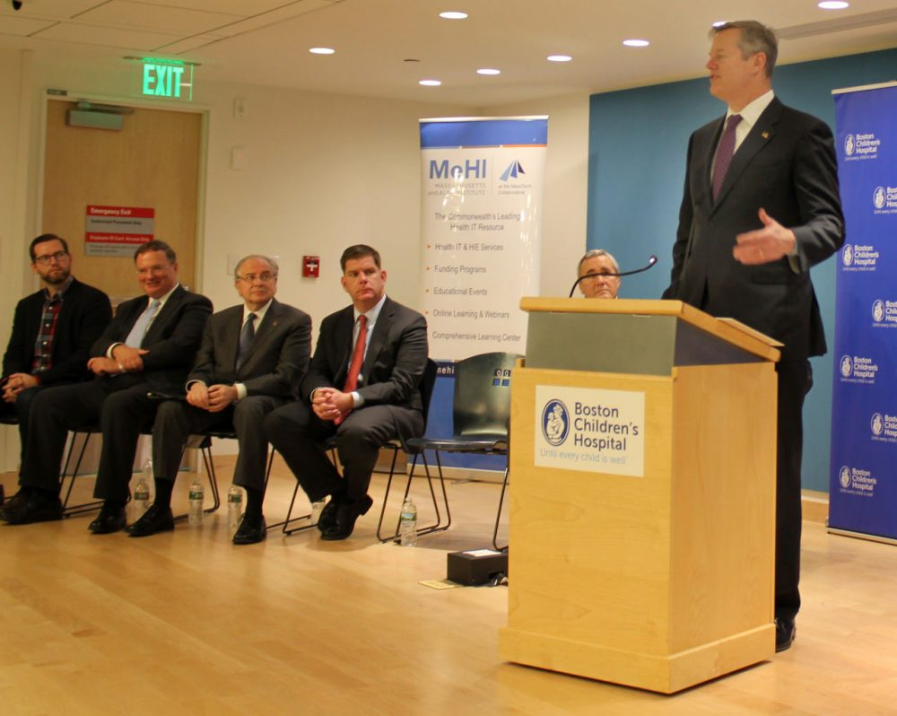 Gov. Charlie Baker speaks at a press conference at Boston Children's Hospital Thursday announcing a new public-private partnership to boost the state's digital health care sector. (Greta Jochem for WBUR)