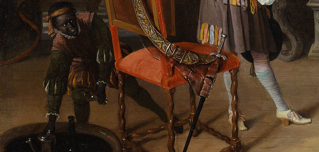 "Detail of Jan Steen, Dutch (1626-1679). ""Fantasy Interior with Jan Steen and the Family of Gerrit Schouten,"" ca. 1659-1660. Oil on canvas, 33 3/8 x 39 13/16 inches. The Nelson-Atkins Museum of Art, Kansas City, Missouri. Purchase: William Rockhill Nelson Trust, 67-8. (Courtesy of The Nelson-Atkins Museum of Art, Kansas City, Missouri)"