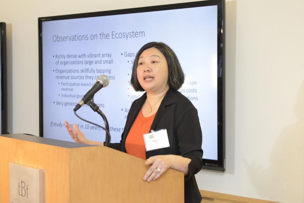 "Juliana Koo, vice president of TDC, at the presentation of ""How Boston and Other American Cities Support and Sustain the Arts"" at the Boston Foundation. (Courtesy Boston Foundation)"