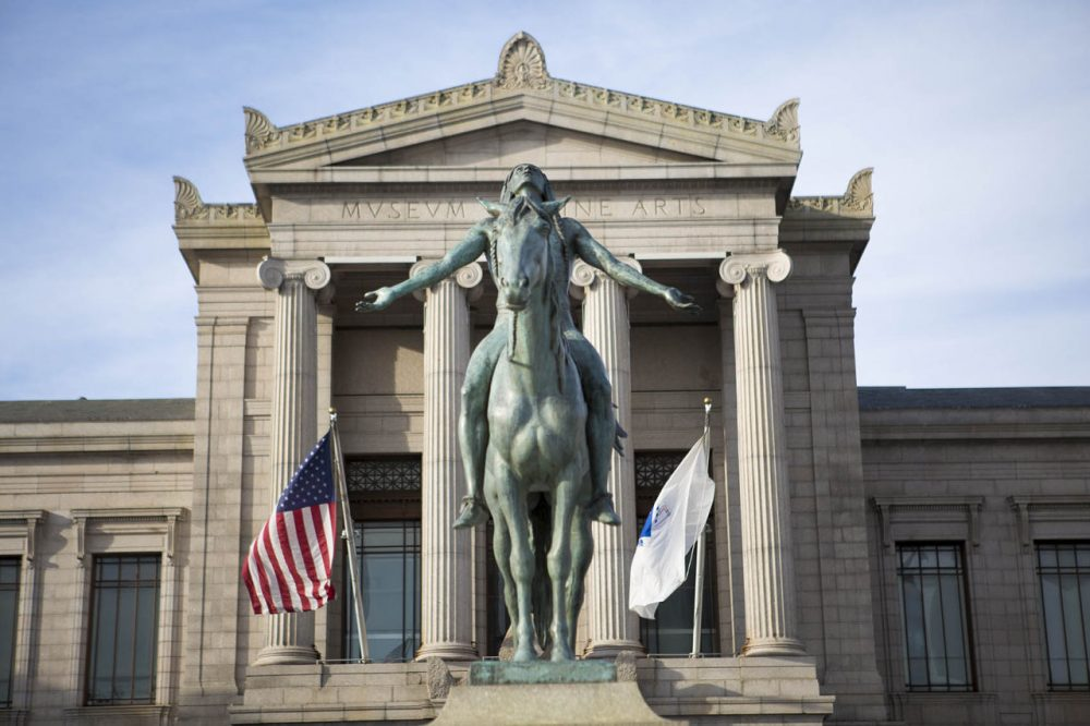 """Appeal to the Great Spirit"", a 1909 equestrian statue by Cyrus Dallin in front of the MFA. (Jesse Costa/WBUR)"