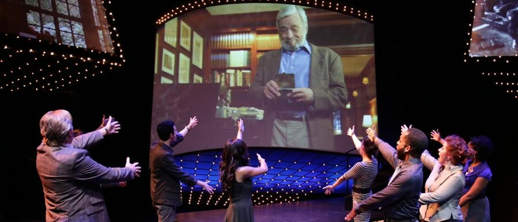 """The cast of the Lyric Stage Company of Boston salutes the onscreen titular hero of """"Sondheim on Sondheim."""" (Courtesy Mark S. Howard/Lyric Stage Company of Boston)"""