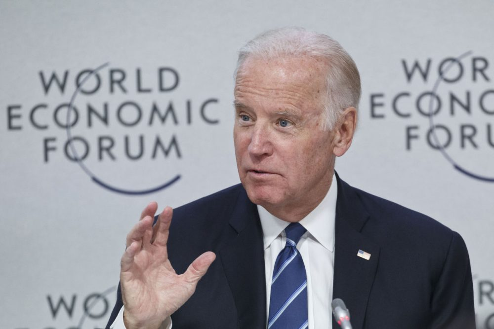 "US Vice-President Joe Biden speaks during a panel ""Cancer Moonshot: A Call to Action"" at the World Economic Forum in Davos, Switzerland, Tuesday Jan. 19, 2016.. (AP Photo/Michel Euler)"