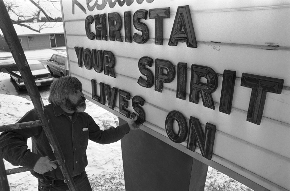 A billboard outside a Concord, New Hampshire motel in  January 1986 in honor of Concord High teacher Christa McAuliffe, who died aboard the Space Shuttle Challenger. (AP Photo/Peter Southwick)