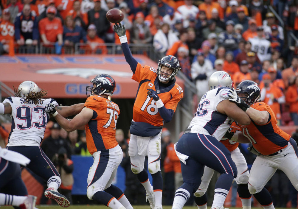 Broncos quarterback Peyton Manning passes during the second half of the AFC Championship. The Broncos held on to beat the Patriots 20-18. (Charlie Riedel/AP)
