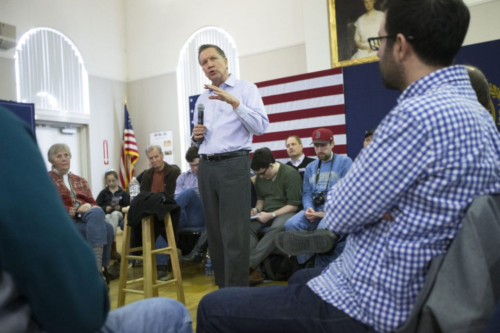 Republican presidential candidate Ohio Gov. John Kasich speaks during a campaign stop at the Historical Society of Cheshire County, Saturday, Jan. 30, 2016, in Keene, N.H. (AP Photo/John Minchillo)
