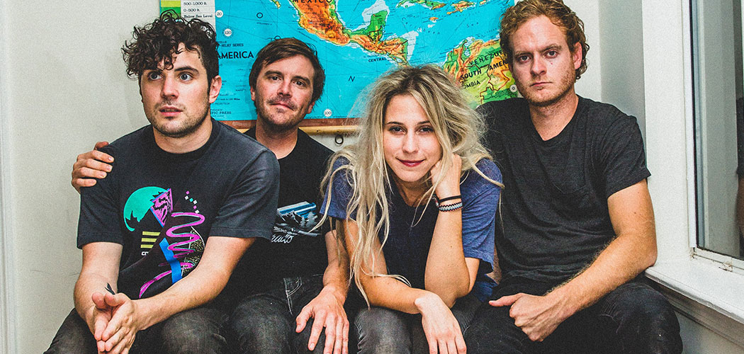 The band Bully is (left to right) Reece Lazarus, Clayton Parker, Alicia Bognanno, Stewart Copeland. (Courtesy of Pooneh Ghana)
