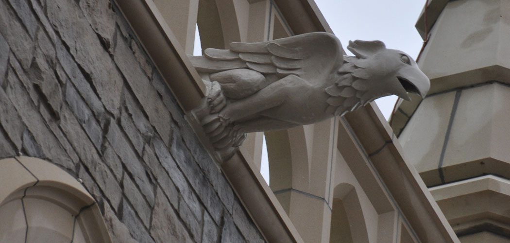 A gargoyle sculpted by Danielle Krcmar stands sentinel at St. Kateri Tekakwitha in Ridgway, Illinois, in fall 2015. (Courtesy of Danielle Krcmar)