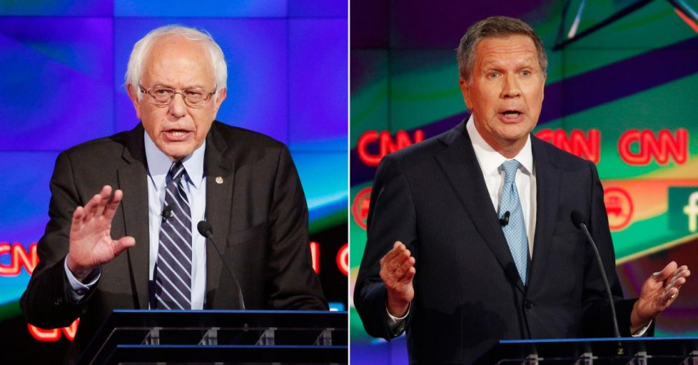 A new WBUR poll of undeclared New Hampshire voters finds that many have yet to make up their minds about who to vote for -- or even which party to support. Our poll also found that the two candidates those voters like the most are Republican John Kasich and Democrat Bernie Sanders. (AP)