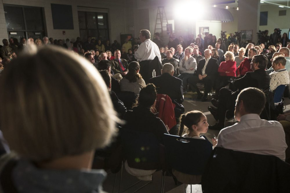 A town hall meeting with Republican presidential candidate, New Jersey Gov. Chris Christie during a campaign stop at Gilbert H. Hood Middle School in Concord, N.H.  on Wednesday, Jan. 20. (John Minchillo/AP)