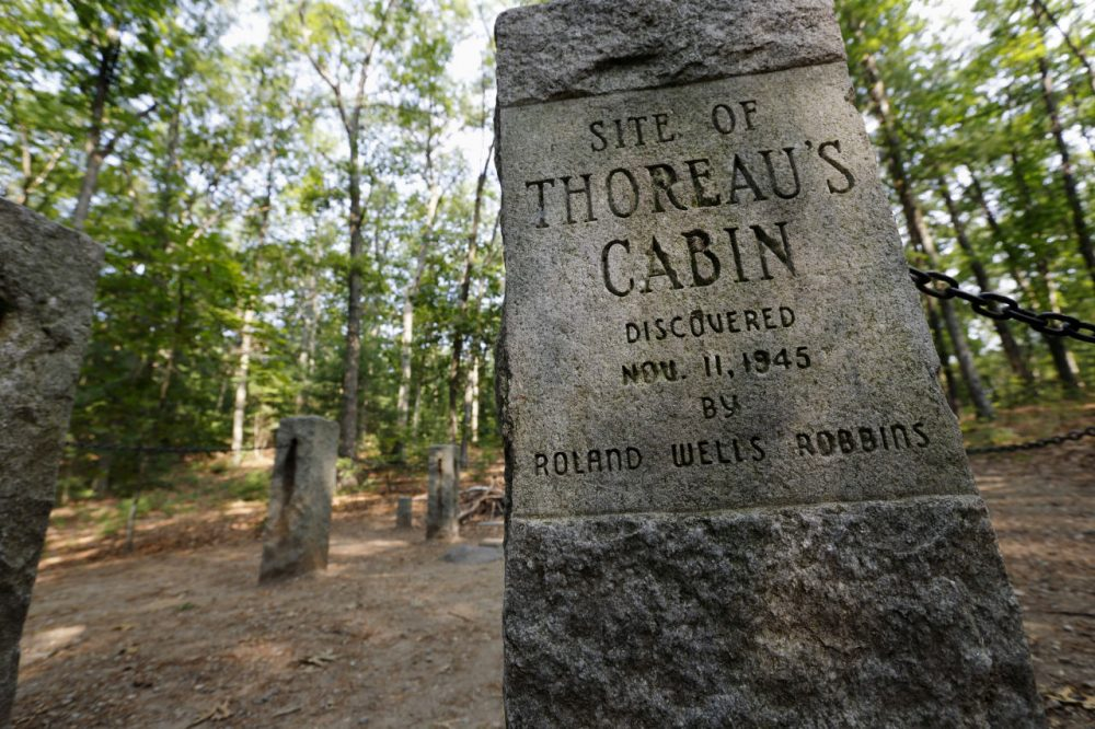 The site of Henry David Throeau's cabin on the shores of Walden Pond in Concord, Mass. (AP Photo/Michael Dwyer)