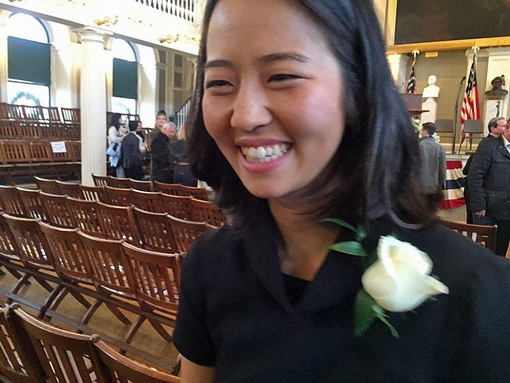 Newly-elected Boston City Council President Michelle Wu leaves Faneuil Hall after Monday's swearing-in ceremony. (Delores Handy/WBUR)