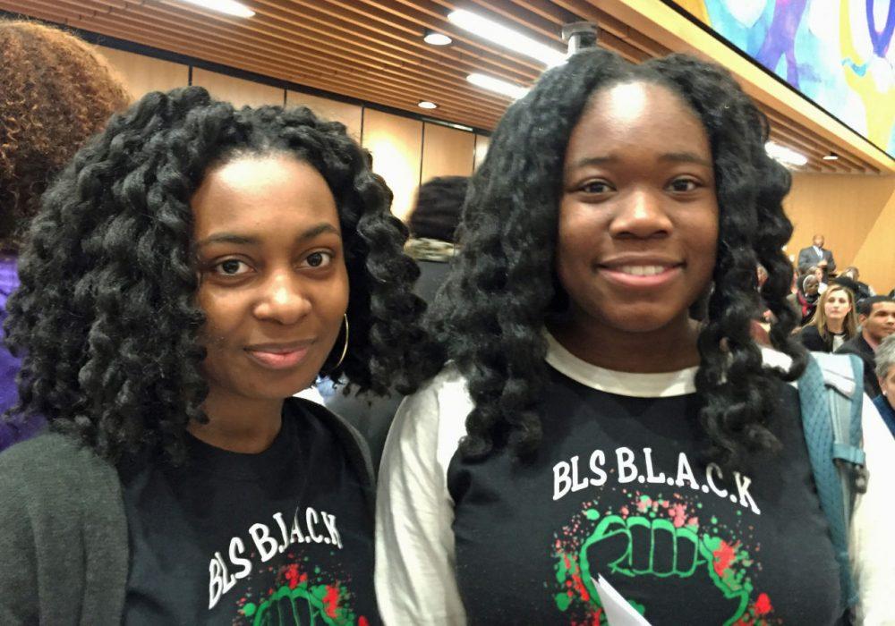 Kylie Webster-Cazeau, left, and Meggie Noel, seniors at Boston Latin School (Delores Handy/WBUR)