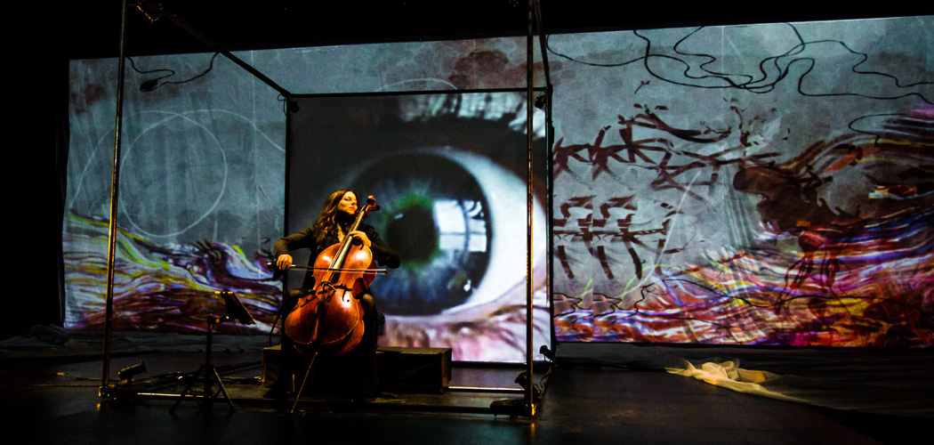 "Maya Beiser performs in Paola Prestini's ""Labyrinth,"" produced by Beth Morrison Projects. (Courtesy Jill Steinberg)"