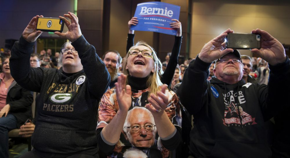 Supporters cheer as Democratic presidential candidate Sen. Bernie Sanders, I-Vt., speaks during a campaign rally, on Saturday, Jan. 30, 2016, in Cedar Rapids, Iowa. (Evan Vucci/AP)