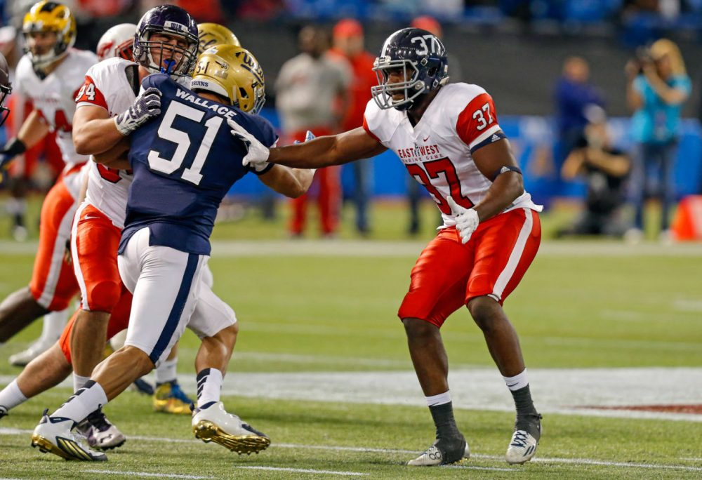 Antwione Willams #37 from Georgia Southern playing on the East Team against the West Team during the first half of the East West Shrine Game at Tropicana Field on January 23, 2016 in St. Petersburg, Florida. (Mike Carlson/Getty Images)