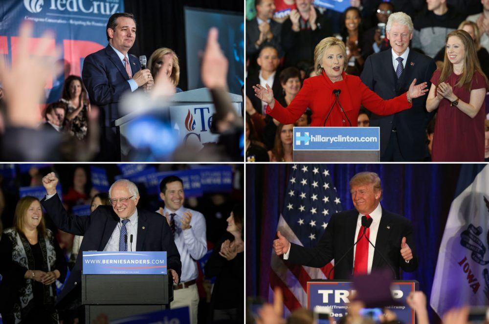 Clockwise from left: Sen. Ted Cruz (R-TX), Hillary Clinton, Donald Trump and Sen. Bernie Sanders (I-VT) speak to their supporters during their caucus night events on February 1, 2016 in Des Moines, Iowa. (Brendan Hoffman, Win McNamee, Scott Olson, Joshua Lott/Getty Images)