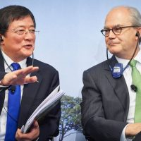 Chinese Ren Jianxin (Left), Chairman of ChemChina gestures next to Michel Demare, Chairman of Swiss farm chemicals giant Syngenta during a press conference to present Syngenta's annual results at the company's headquarters in Basel on February 3, 2016 State-owned China National Chemical Corp on February 3, 2016 offered $43 billion in an agreed takeover for Swiss pesticide and seed giant Syngenta, in what would be by far the biggest-ever overseas acquisition by a Chinese firm.     ( MICHAEL BUHOLZER/AFP/Getty Images)