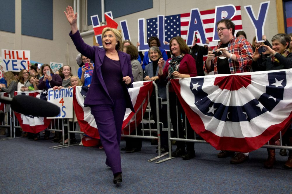 Democratic presidential candidate Hillary Clinton waves to supporters as she arrives on Tuesday for an event in Hampton, N.H., on her first day in New Hampshire after winning the Iowa Caucus. (Jacquelyn Martin/AP)