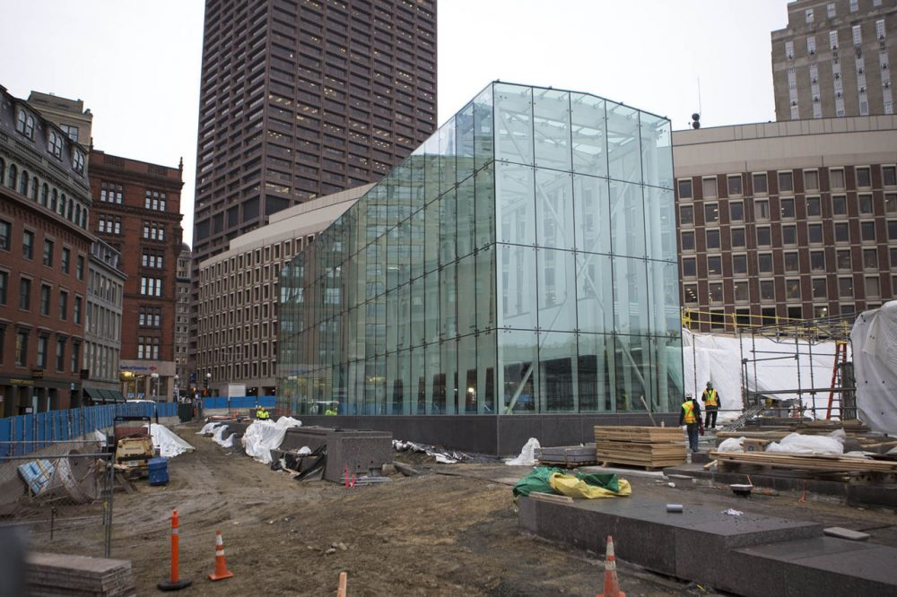 The MBTA's new Government Center station, pictured here on Feb. 3, is set to reopen on March 21 after a two-year renovation project. (Jesse Costa/WBUR)