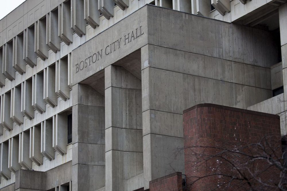 Boston City Hall is seen earlier this month. On Wednesday, councilors approved a big pay hike for police detectives.  (JesseCosta/WBUR)