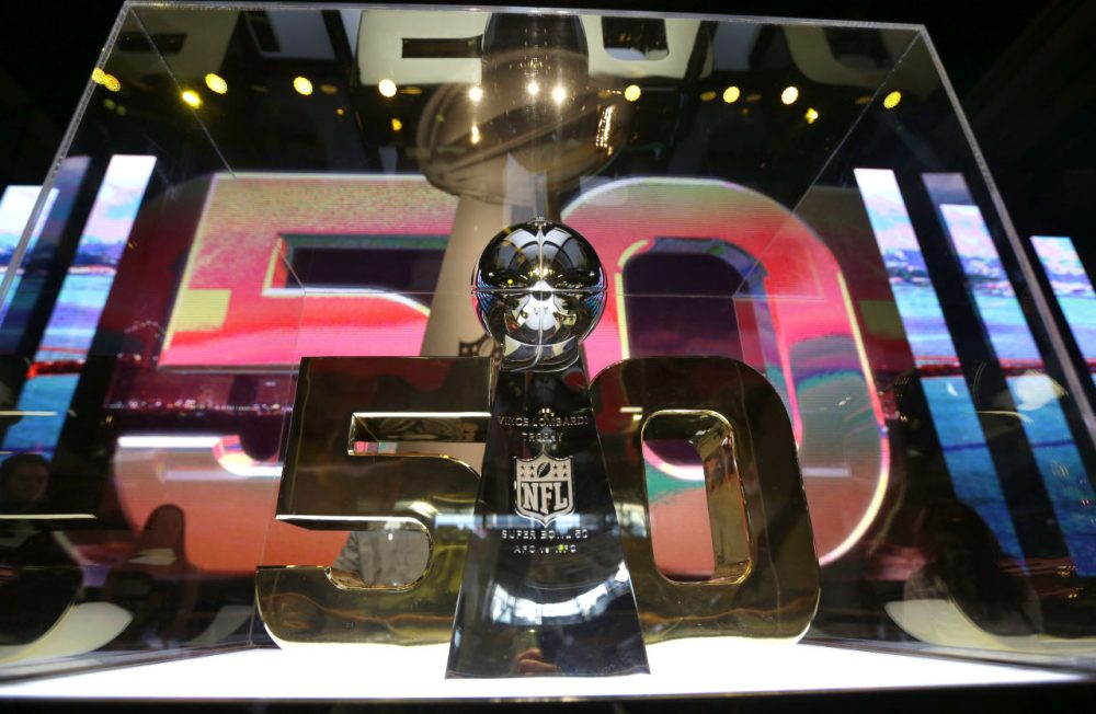 The Vince Lombardi Trophy inside the NFL Experience Tuesday in San Francisco. (David J. Phillip/AP)