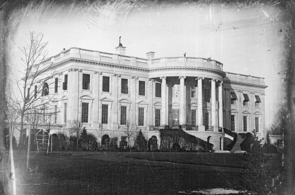 This is the earliest known photograph of the White House, taken around 1846 by John Plumbe during the administration of James K. Polk. (Wikimedia Commons)