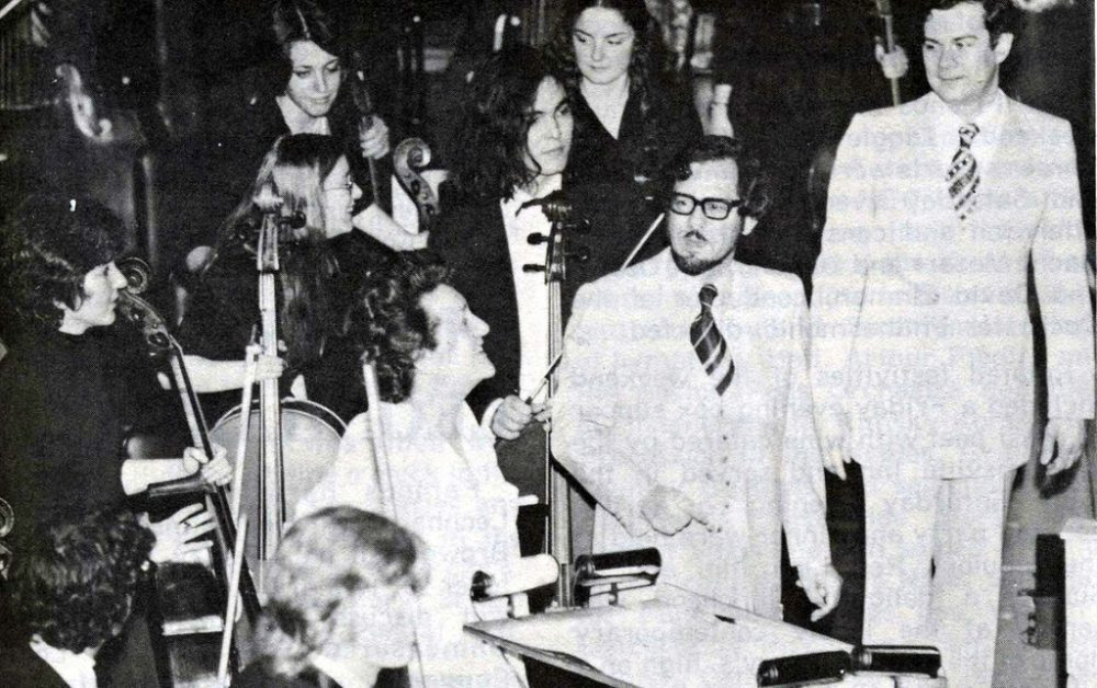 American Music Festival held at New England Conservatory in 1975. Lorna Cooke deVaron, conductor of the NEC chorus, Donald Martino, chairman of the composition department and composer of the 'Paradiso Choruses' and Richard Pittman, conductor of the NEC repertory orchestra. (New England Conservatory/Flickr)