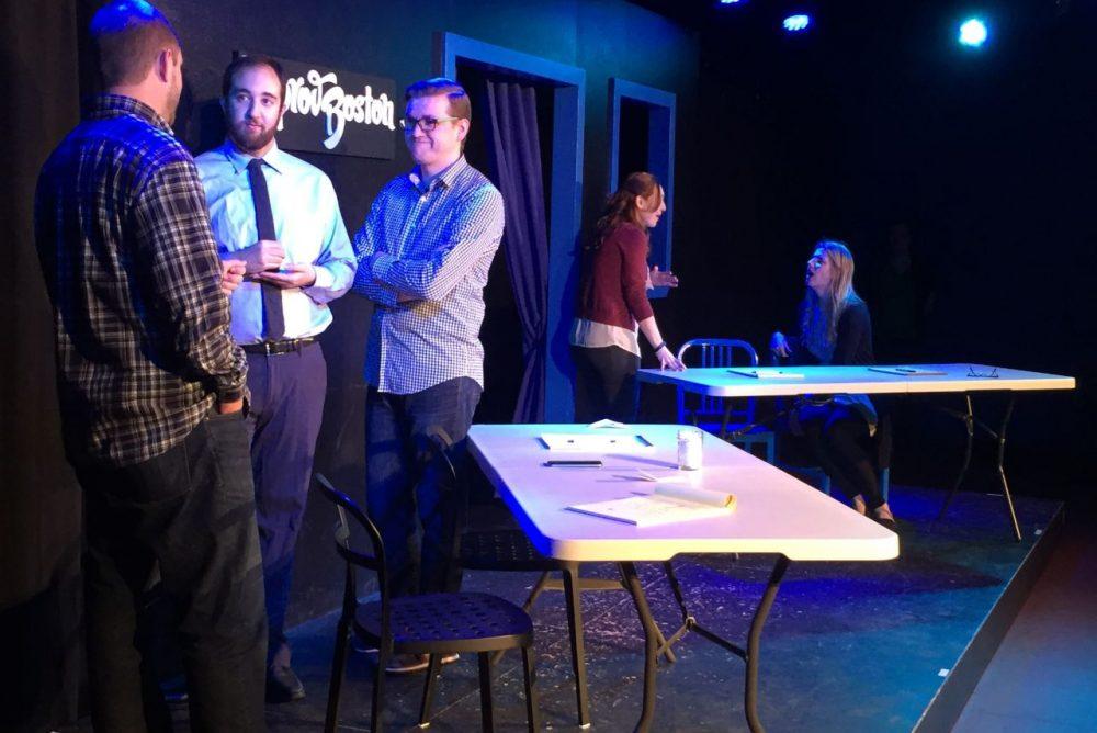 "A scene from the ImprovBoston show, ""WIPR: Improvised Public Radio."" (Courtesy ImprovBoston)"