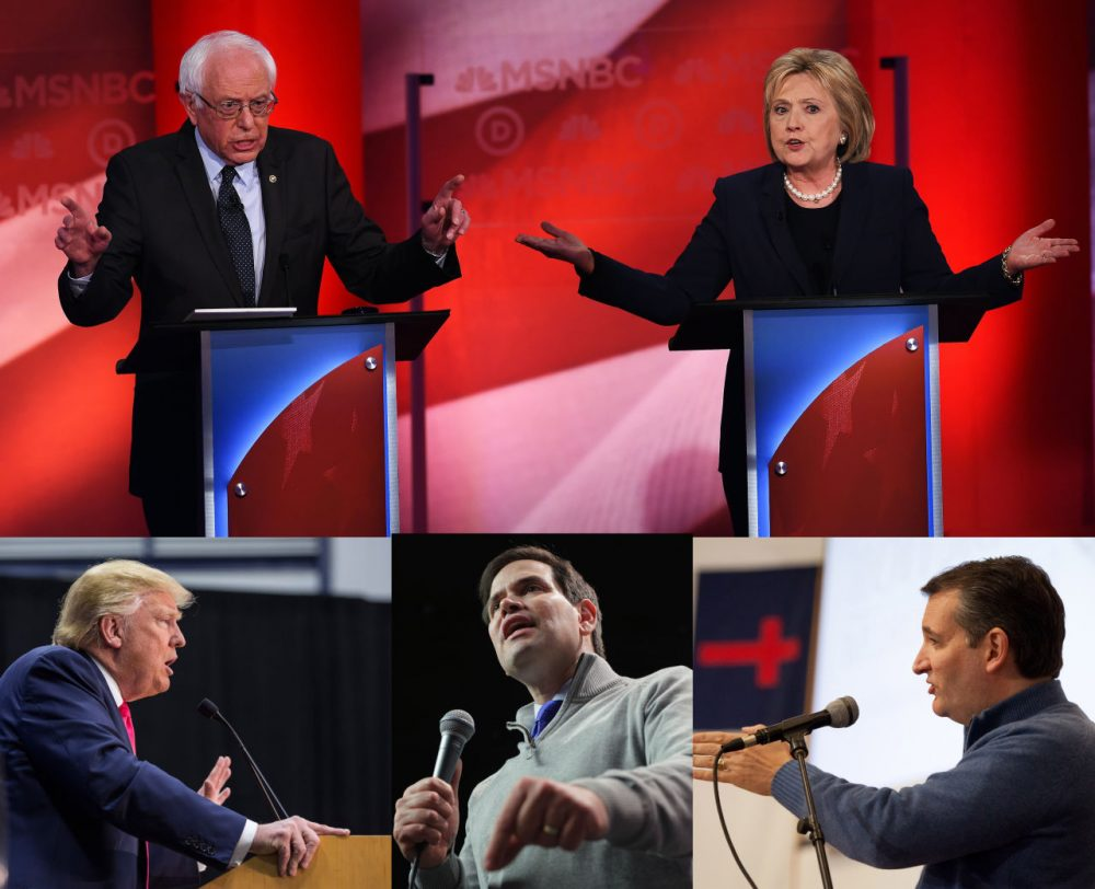 Candidates from both parties try to sway New Hampshire voters before the February 9th primary contests. (Photos, clockwise from the top, by Jewel Samad, Matthew Cavanaugh, Andrew Burton and Chip Somodevilla/Getty Images)