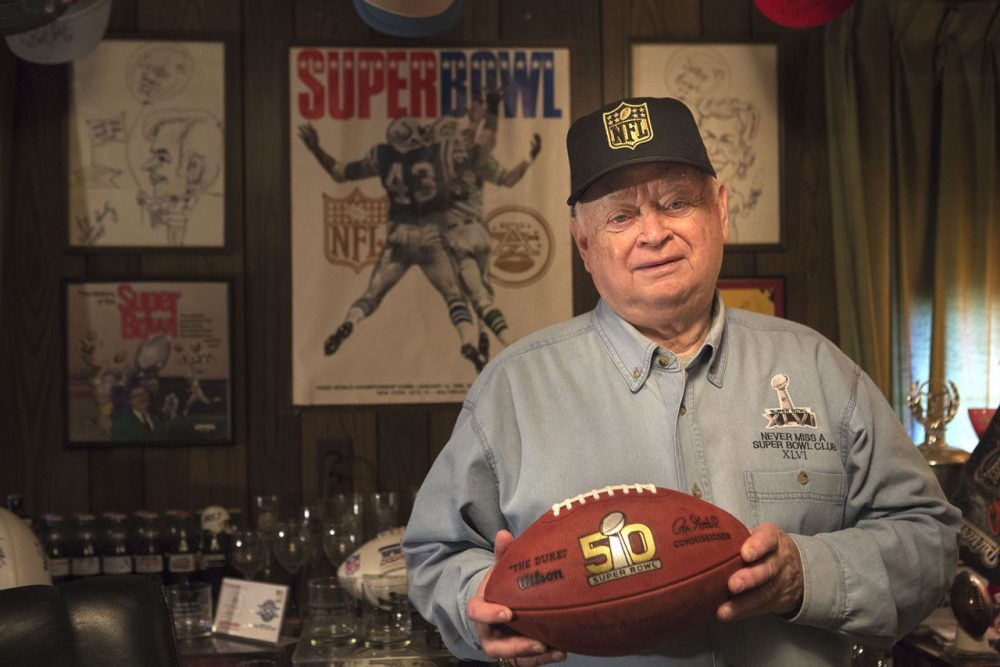 Don Crisman has been to every Super Bowl game since they began in 1967.   (Jesse Costa/WBUR)