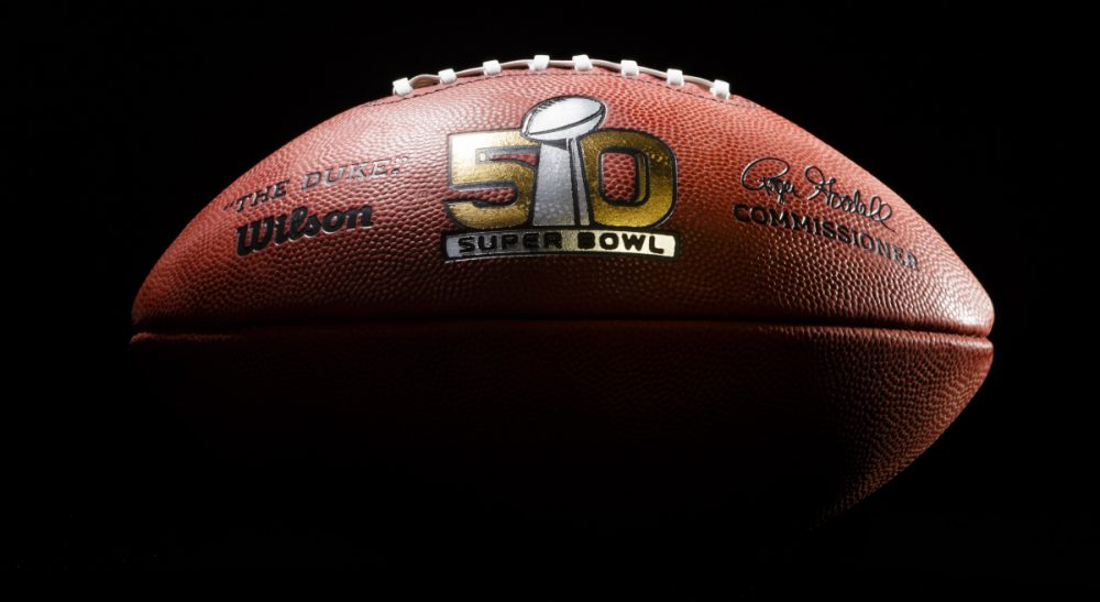 Pictured, an official game ball for the NFL Super Bowl 50 football game. The Denver Broncos will play the Carolina Panthers on Feb. 7, 2016 in Santa Clara, CA. (Rick Osentoski/ AP)