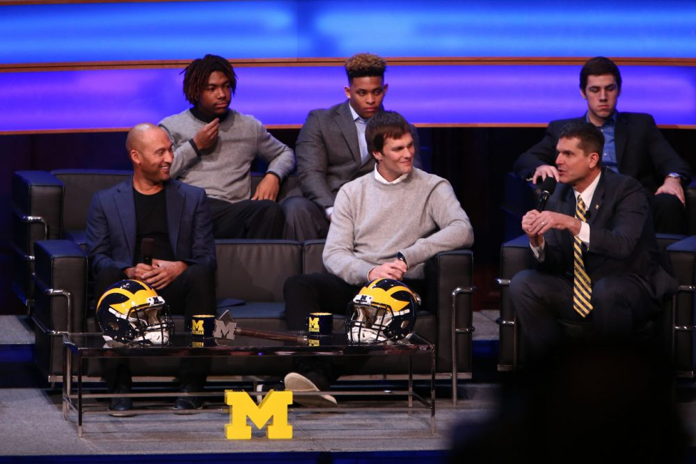 Derek Jeter and New England Patriots QB Tom Brady were on hand at the University of Michigan's National Signing Day event, the Signing of the Stars (Rey Del Rio/Getty Images)