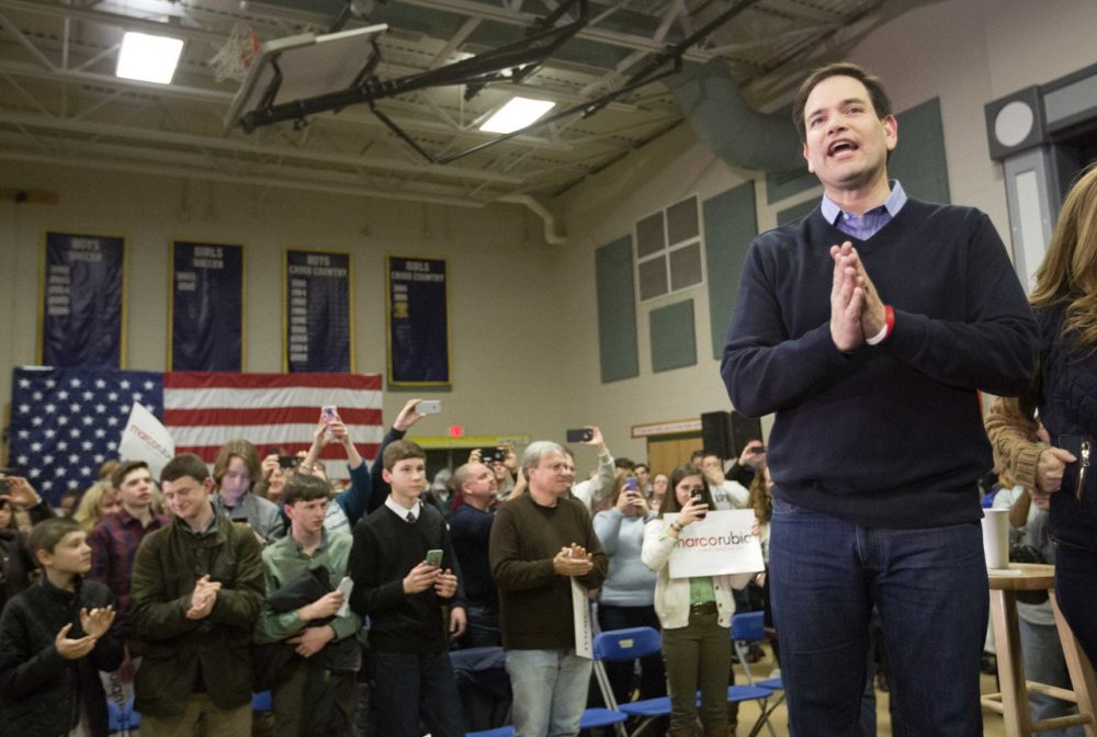 Sen. Marco Rubio, R-Fla., speaks at a campaign event at Gilbert H. Hood Middle School on Friday in Derry, N.H. (David Goldman/AP)