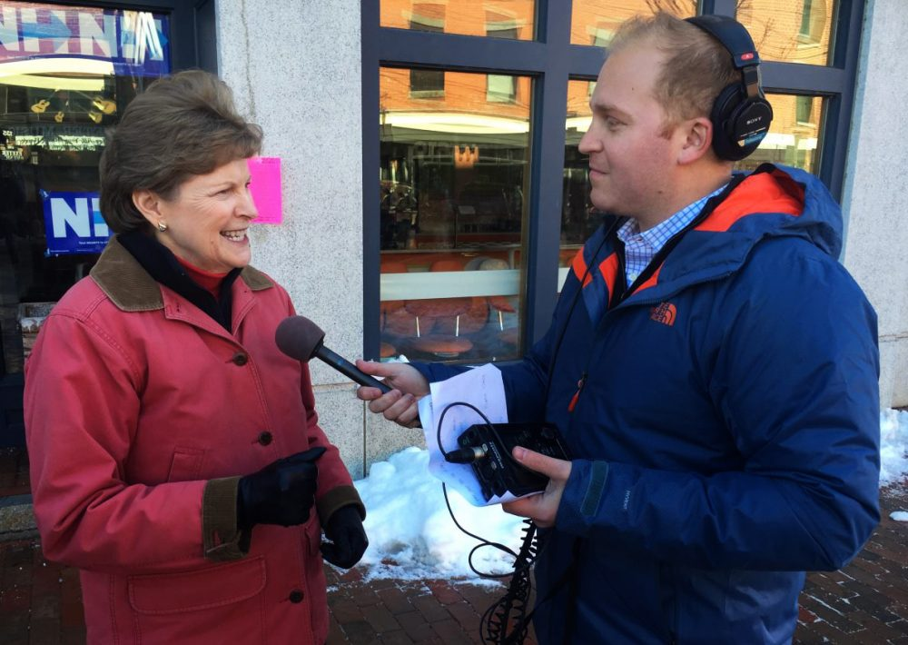 Jeremy Hobson made a stop in Exeter, New Hampshire to speak with Sen. Jeanne Shaheen. Shaheen was in town to speak with Hillary Clinton supporters who were getting ready to volunteer to get the word out about their candidate ahead of Tuesday's primary. (Mary Dooe/Here & Now)