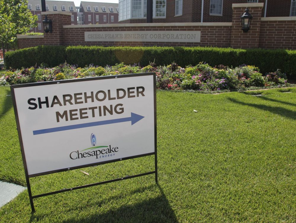 A sign stands in front of the Chesapeake Energy Corp. campus in Oklahoma City, Friday, June 8, 2012, where the annual shareholders meeting is taking place. Chesapeake Energy Corp. (Sue Ogrocki/AP)