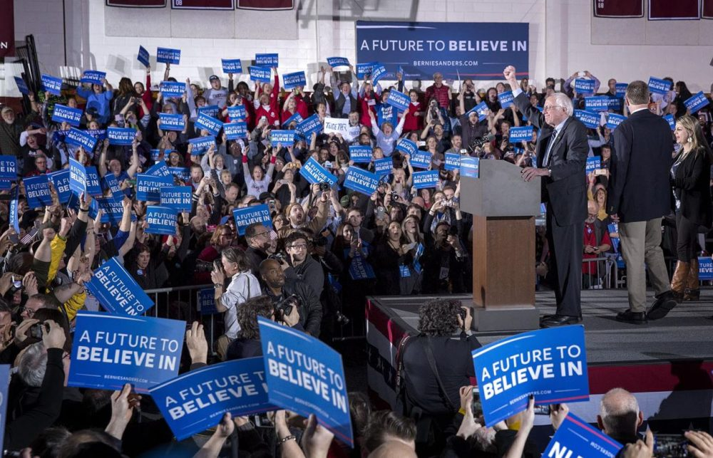 Democrat Bernie Sanders addresses his supporters after winning the New Hampshire primary. (Robin Lubbock/WBUR)