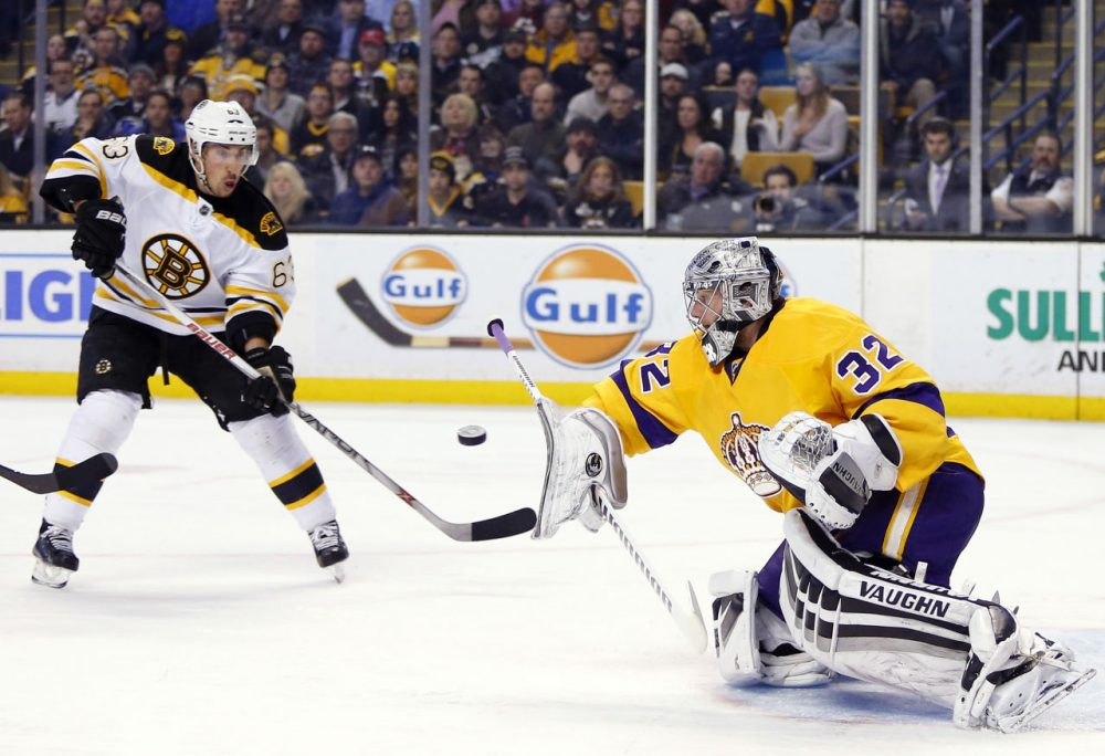 Kings goalie Jonathan Quick makes a blocker save as Bruins' Brad Marchand looks for the rebound during the second period of the game in Boston Tuesday, Feb. 9, 2016. (Winslow Townson/AP)
