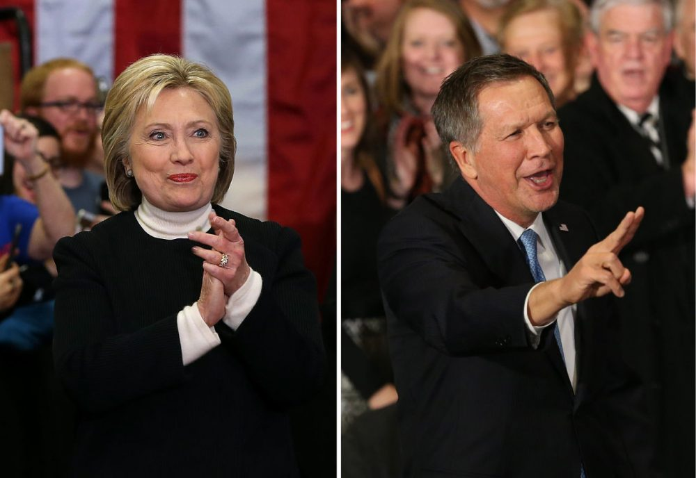 Democrat Hillary Clinton and Republican John Kasich were the second-place finishers in the New Hampshire primary. (Justin Sullivan, Andrew Burton/Getty Images)