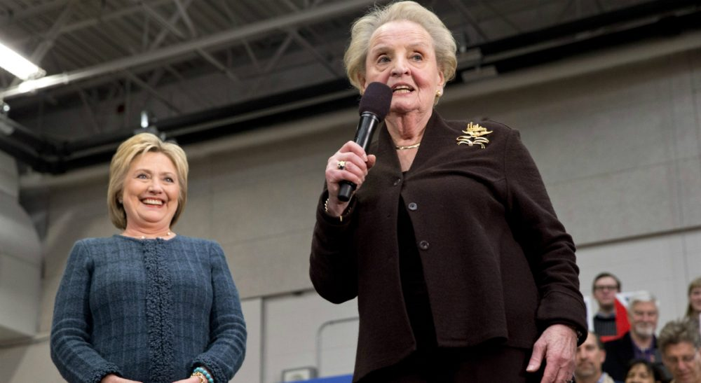Former Secretary of State Madeleine Albright introduces Democratic presidential candidate Hillary Clinton at a campaign event at Rundlett Middle School, in Concord, N.H., Saturday, Feb. 6, 2016. (Jacquelyn Martin/ AP)