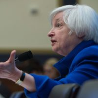 U.S. Federal Reserve chair Janet Yellen testifies before the House Financial Services Committee on Capitol Hill in Washington, D.C., on February 10, 2016. Federal Reserve Chair Janet Yellen warned that the US economy faces risks from tightening domestic financial conditions as well as global economic turmoil. (Nicholas Kamm/AFP/Getty Images)