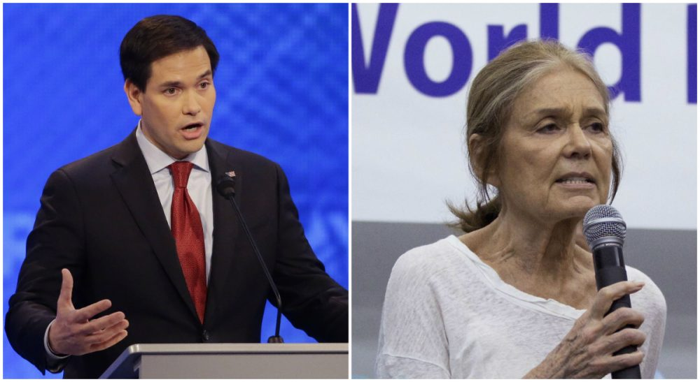 L: Sen. Marco Rubio is pictured during a Republican presidential primary debate, Feb. 6, 2016, in Manchester, N.H. R: Activist Gloria Steinem speaks in Beijing, China, May 19, 2015. (Both photos, AP)