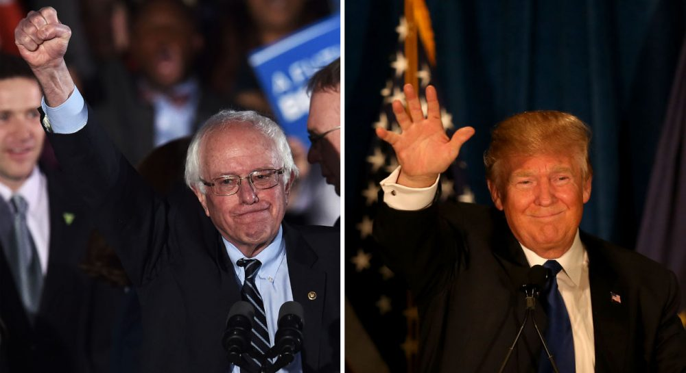 Democrat Bernie Sanders (left) and Republican Donald Trump (right) won decisive victories in the New Hampshire primaries. (Jewel Samad, Joe Raedle/Getty Images)