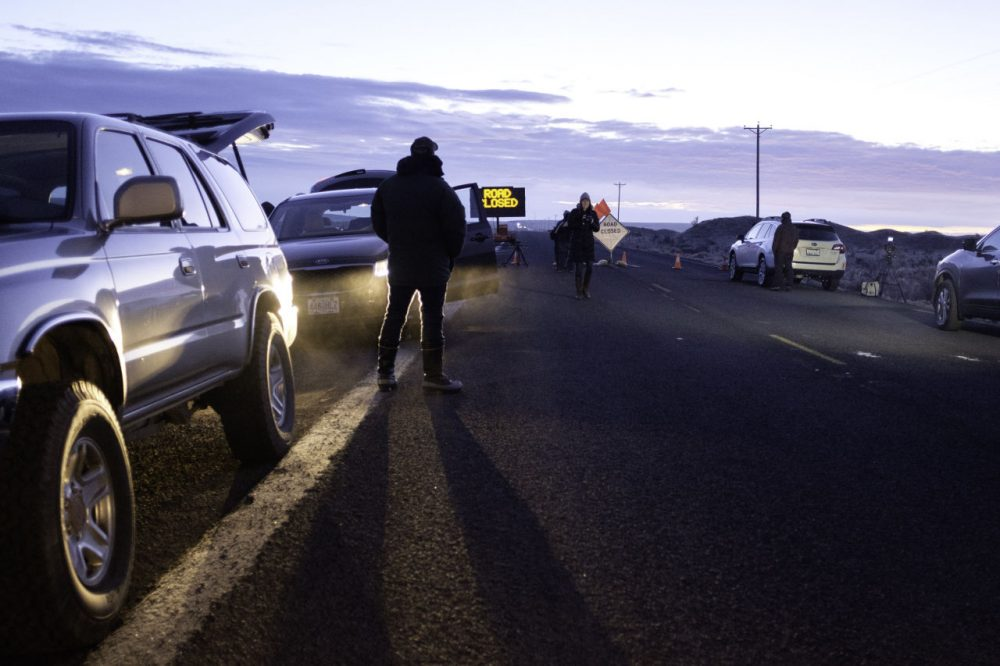 Media wait at a checkpoint about 4 miles from the Malheur Wildlife Refuge Headquarters near Burns, Oregon, on February 11, 2016.   The FBI surrounded the last protesters holed up at a federal wildlife refuge in Oregon amid reports they will surrender on Thursday, suggesting the weeks-long armed siege is approaching a climax. (ROB KERR/AFP/Getty Images)