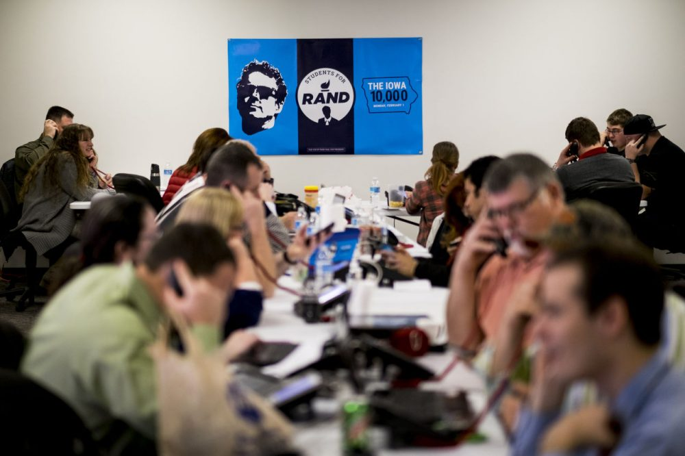Rand Paul volunteers operate the phone banks at Paul's Des Moines headquarters on February 1, 2016 in Des Moines, Iowa. Paul dropped out of the race on Feb. 3, one day after the caucuses. (Pete Marovich/Getty Images)