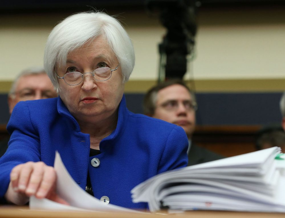 Federal Reserve Board Chairwoman, Janet Yellen looks over her papers during a House Financial Services Committee hearing on Capitol Hill, February 10, 2016 in Washington, DC. Ms. Yellen is delivering the Federal Reserve's semi-annual Monetary Policy Report to the House Committee.  (Mark Wilson/Getty Images)