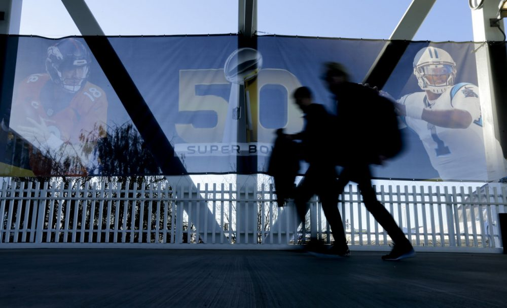 Thousands of workers were bused into Levi's Stadium to make Super Bowl 50 possible. Gabriel Thompson worked concessions at the big game: he says for all their planning, the NFL they didn't do enough for their hourly workers. (AP Photo/Gregory Bull)