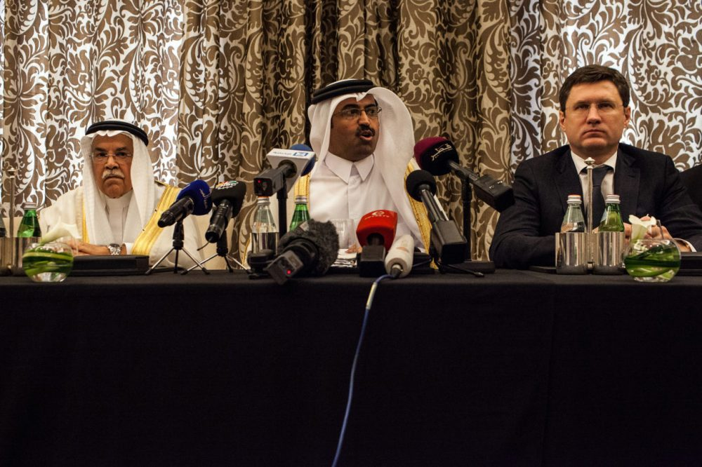 Qatar's Minister of Energy and Industry Mohammed Saleh al-Sada (center),Saudi Arabia's minister of Oil and Mineral Resources Ali al-Naimi (left), and Russia's Energy Minister Alexander Novak (right) attend a press conference on February 16, 2016, in the Qatari capital Doha. Energy giants Saudi Arabia and Russia agreed to freeze oil output to try to stabilize the market if other major producers do the same, Qatar's oil minister said. (Olya Morvan/AFP/Getty Images)
