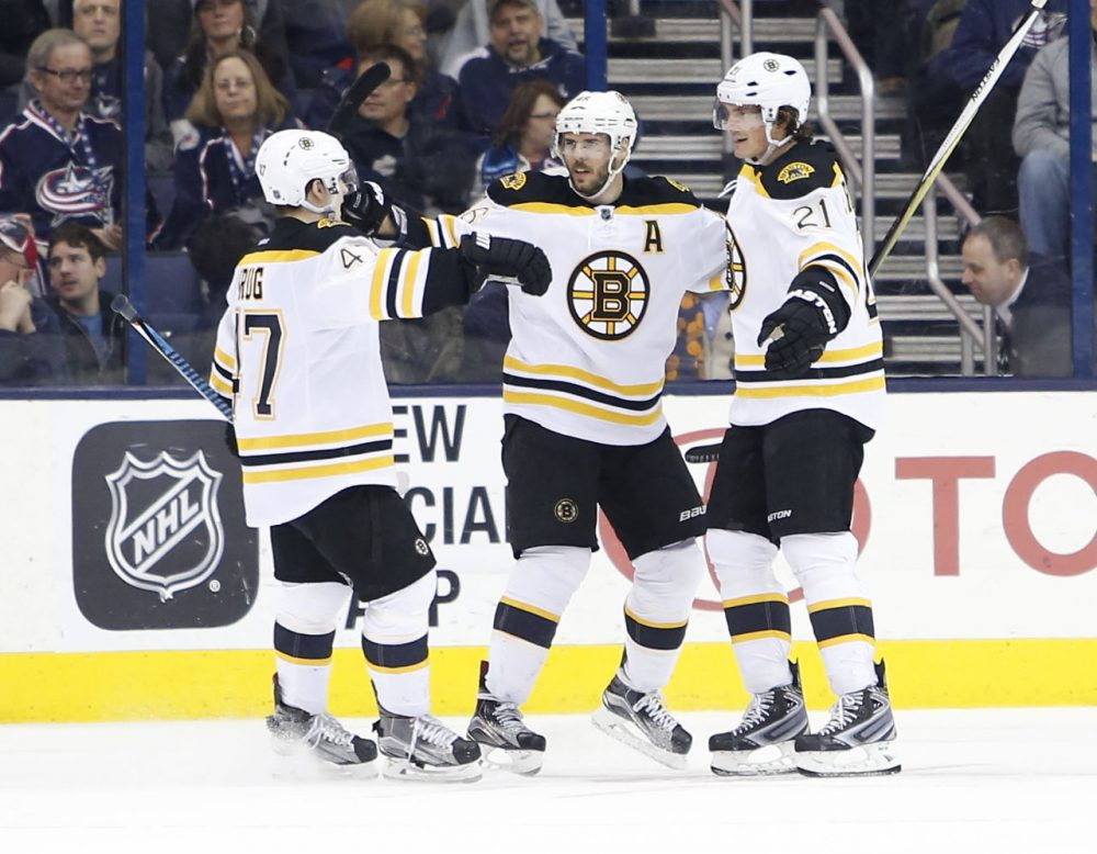Boston Bruins' Loui Eriksson, right, of Sweden, celebrates his game-winning goal against the Columbus Blue Jackets with teammates Torey Krug, left, and David Krejci, of the Czech Republic, during the overtime period of last night's game in Columbus. (AP/Jay LaPrete)