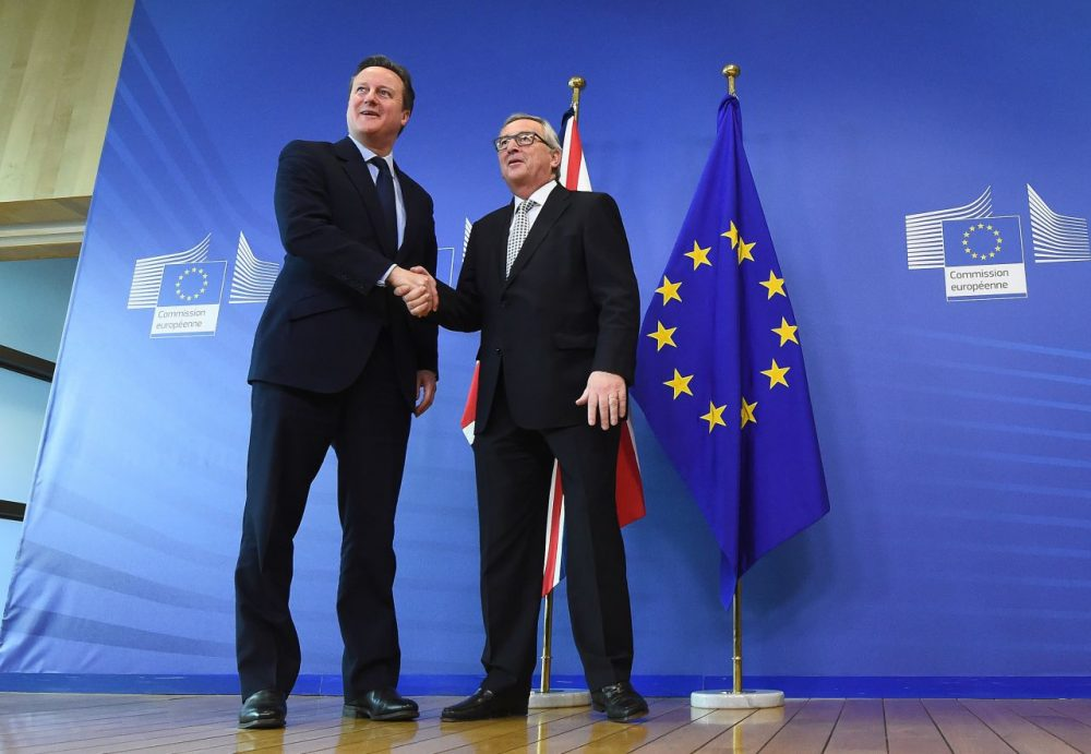 British Prime Minister David Cameron (left) is welcomed by European Commission President Jean-Claude Juncker prior to their meeting at the European Commission in Brussels, on February 16, 2016.  (Emmanuel Dunand/AFP/Getty Images)